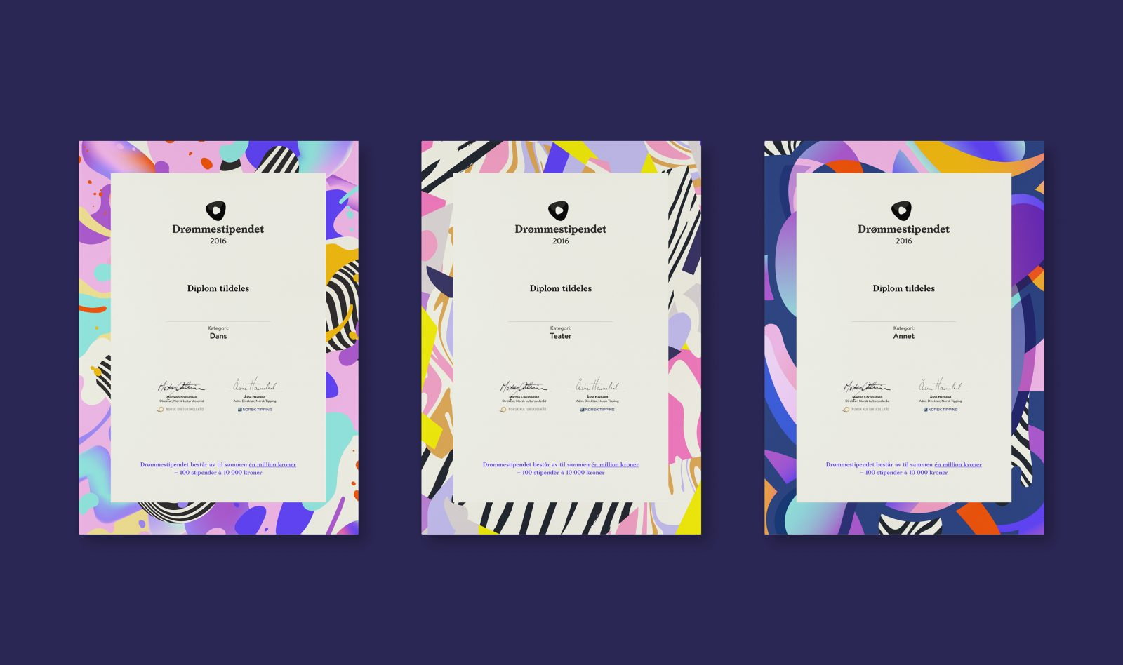 Diploma designs for Drømmestipendet