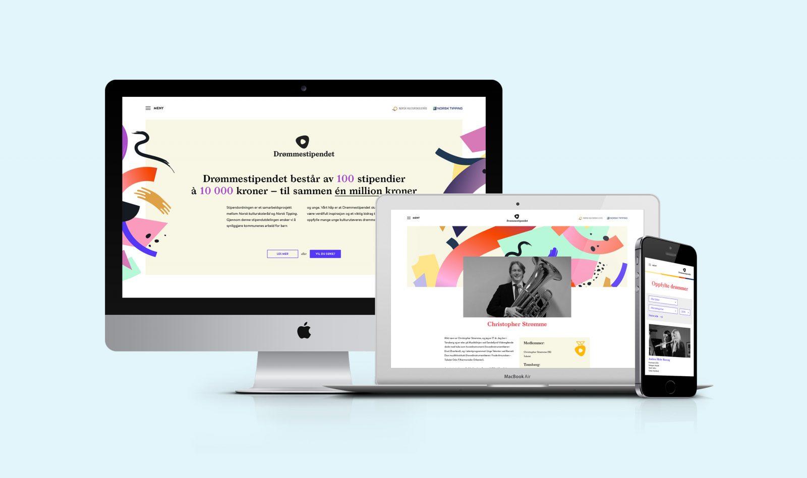 Screens from Drømmestipendets website