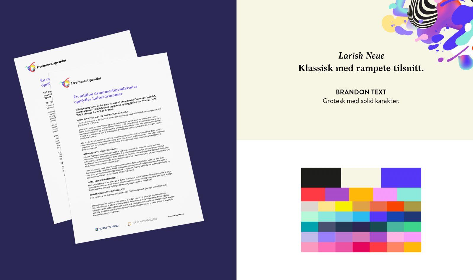 Letter template, typography, colour palette for Drømmestipendet