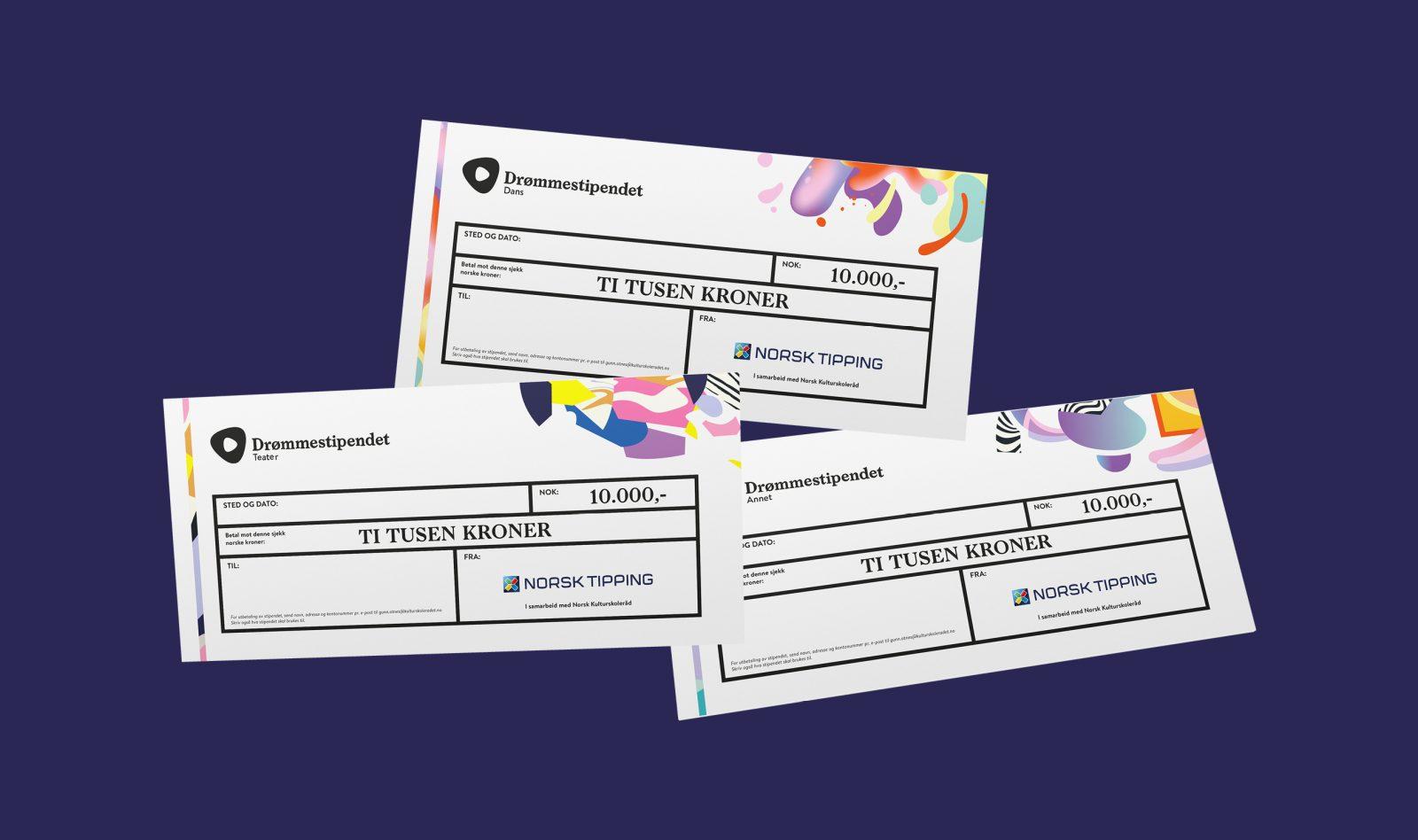 Cheque designs for Drømmestipendet