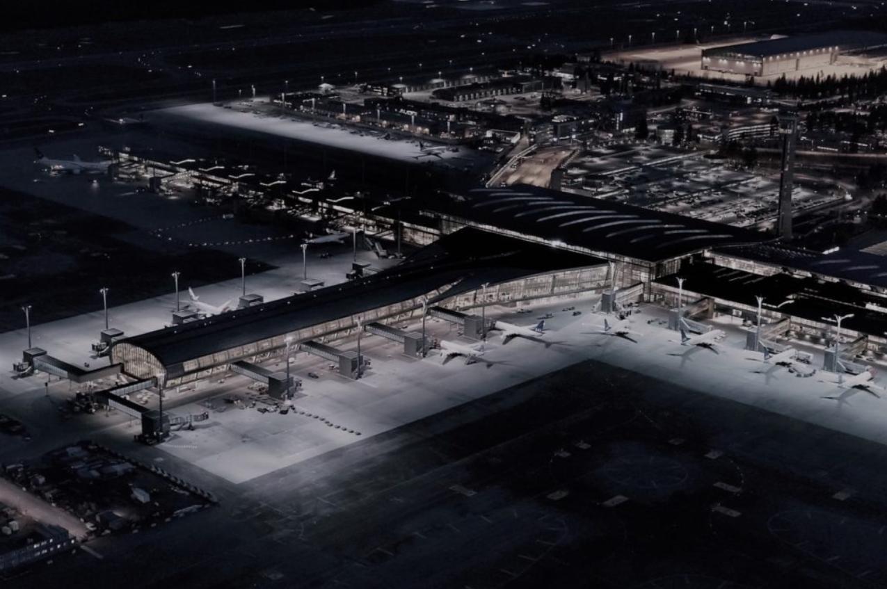 Oversiktsbilde av flyplass