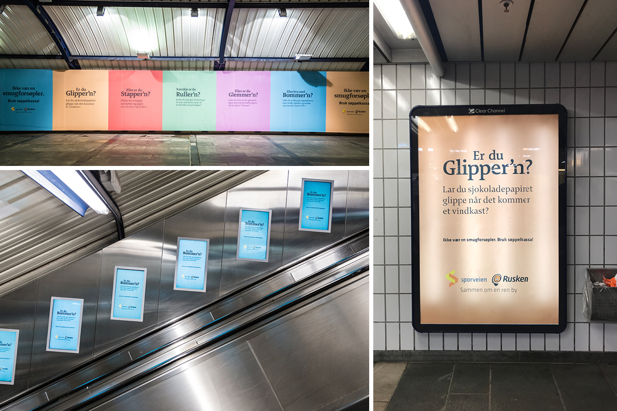 posters for Sporveien and Rusken, mounted at various locations in the underground