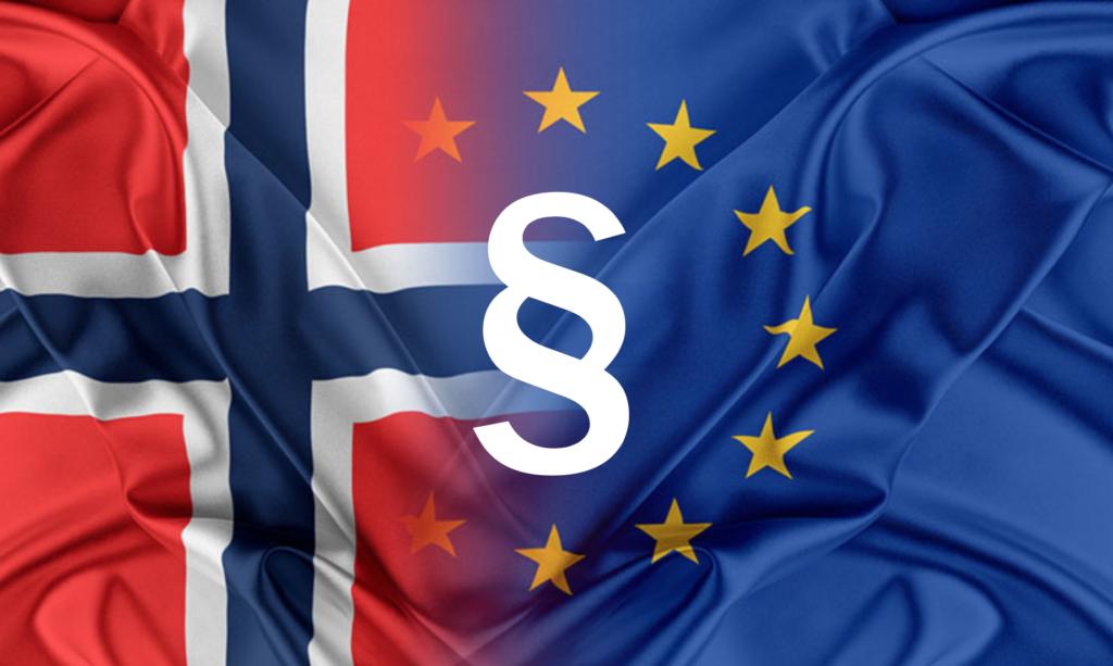 Norsk flagg og EU-flagget